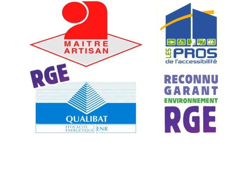 nos qualification, label, maitre artisan, les pros de l'accessibilité, RGE, Reconnu garant environnemen, Qualibat, travail de qualité